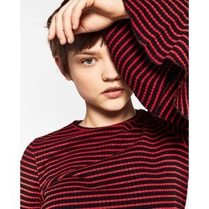 NWT Zara Striped Ribbed Bell Sleeve Knit Top